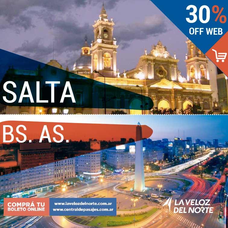 Salta ⇄ Buenos Aires 30% off web Comprando tu pasaje por la web 30% de descuento