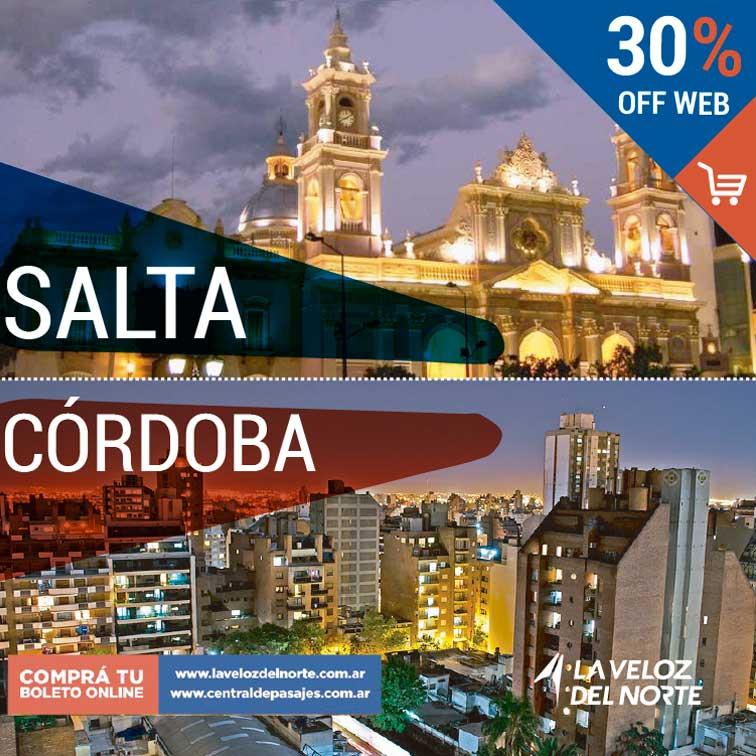 Salta ⇄ Córdoba 30% off Comprando tu pasaje por la web  te hacemos el 30%