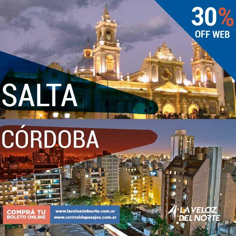 Salta ⇄ Córdoba 30% off